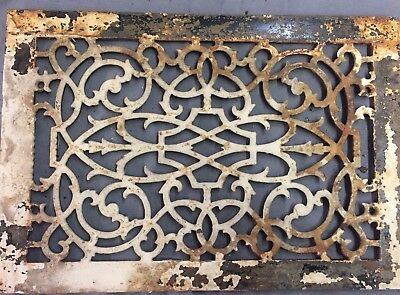 Antique Cast Iron Grill Floor Vent Heat Grate Victorian Old Vtg 14x9 25-17B