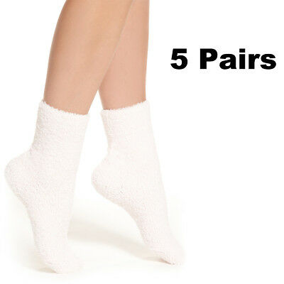 5 Pairs White Womens Soft Cozy Fuzzy Winter Warm Slipper Socks Santa Xmas Socks