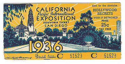 1936, California Pacific Expo, San Diego, Souvenir Ticket