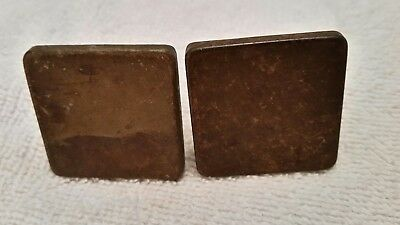 Pr  Matching Old Vintage Square Metal Knobs Drawer Pulls Old Finish  (1015D)