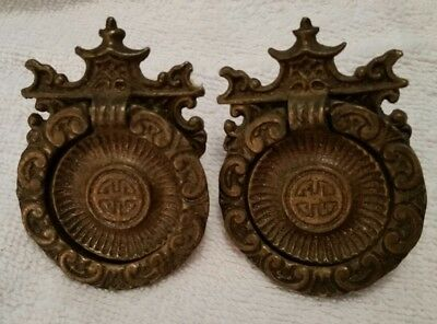 Pair Matching Vintage Fancy Solid Brass Round  Knobs Drawer Pulls   (1016A)
