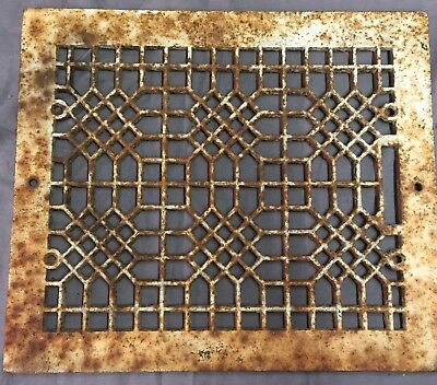 Antique Cast Iron Grill Grate Wall Ceiling Honeycomb Vent Old Vtg 12x10 29-17B