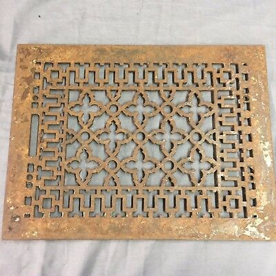 Antique Cast Iron Grill Grate Wall Ceiling Gothic Vent Old Vtg 14x10 30-17B