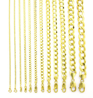 """REAL 14K Yellow Gold SOLID 1.5MM-12MM Cuban Curb Chain Link Necklace (16""""- 30"""")"""