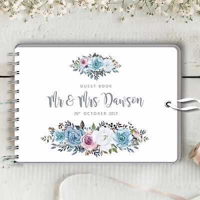 Personalised Wedding Guest Book, Blue Rose, Blank Message Book, Photo Album
