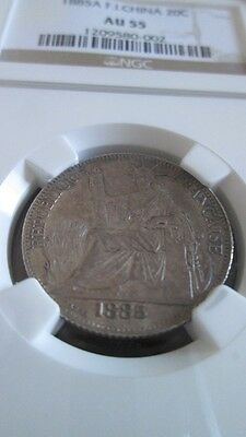 French Indochina 20 Cents 1885A NGC AU 55