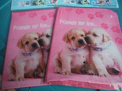 NEW Lot of 2 RACHEL HALE Stretchable Fabric Book Covers - FRIENDS FOR LIFE!