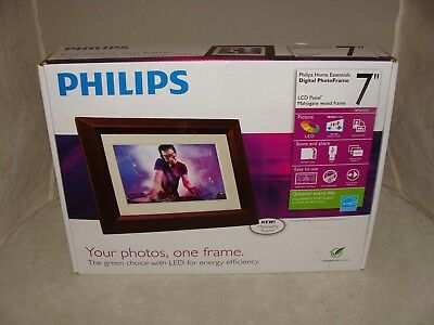 """Philips Home Essentials 7"""" Digital Photo Frame photo brown frame picture LCD"""