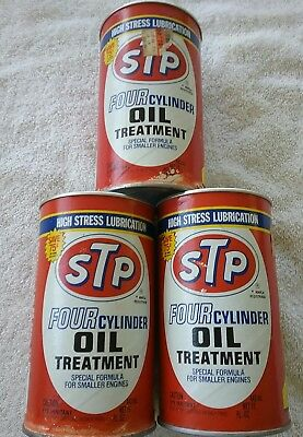 stp fuel treatment cans vintage full not opened lot of three garage shop decor