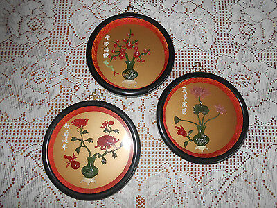 3 Vintage Asian Shadowbox Round Picture Set Florals Japanese Chinese
