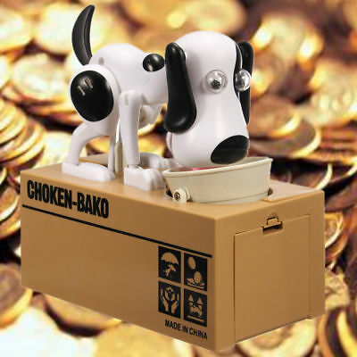 Hot Kids gift Cute Choken Bako Coin Eating Dog Piggy Bank Saving Money Box White