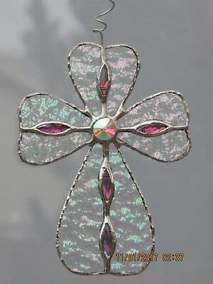 Religious Stained Glass Jeweled Iridescent Cross ~ Hand Crafted Original Design