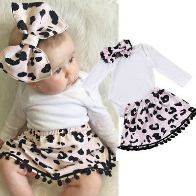 Newborn Baby Girls Long Sleeve Romper Tops Tutu Leopard Skirts Outfits Clothes