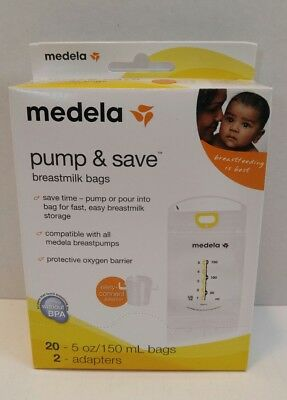 Medela Pump and Save Breastmilk Bags, 20 ct. bags w/ 2 adapters included