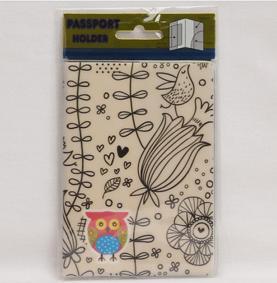 Owl and Flower Passport Case Cover Protector Travel Wallet Pouch Ticket Organize