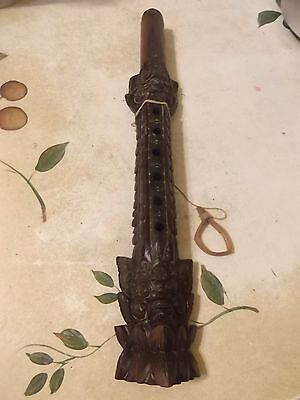 ANTIQUE  Ornate Oriental Hand Wood Carved Flute Asian Musical Instrument