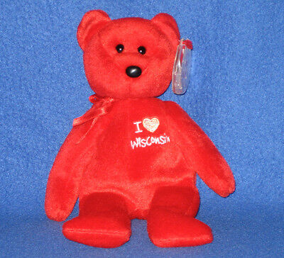 TY I LOVE WISCONSIN  the BEAR  BEANIE BABY -  MINT with MINT TAGS