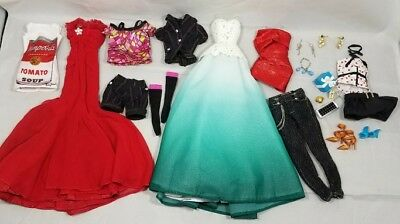 Model Muse Barbie Doll Clothes Lot Top Model Summer Go Red Campbell's Dress +