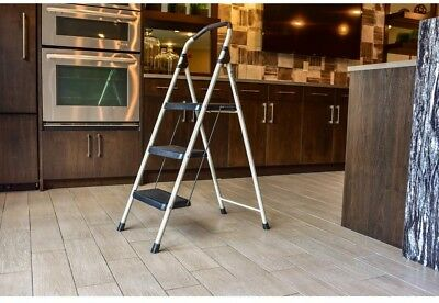 3 Step Portable Steel Step Stool Ladder Heavy Duty Load Safety Climbing Nonslip
