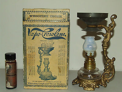 Antique 1893 Quack Medicine Whooping Cough Vaporizer Medicine Oil Lantern w/ BOX