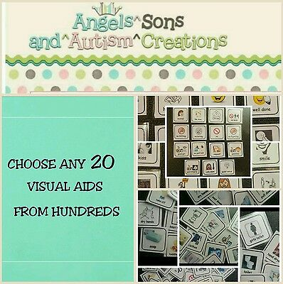 You Choose 20 Visual Cards With Smooth / Loop On Back - Autism /  Non Verbal