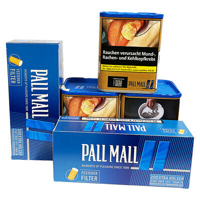 3 x Pall Mall Blue Tabak o.z ,2 x Pall Mall Authentic Blue Hülsen