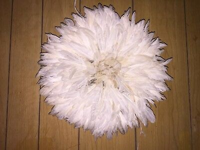 """15 in  Off-white  / African Feather Headdress / Juju-Hat / """"Danced"""