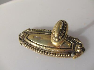 "Victorian Brass Door Knob Handle Pull Antique Beading Gilt Leaf French Old ""W.F"""