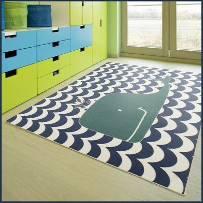 Rug For Kids Room Boys Childs Turquoise/Blue Whale Nautical Sea Life Playroom