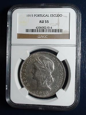 1915 Portugal One Escudo NGC AU55 1ESC Silver Coin Auction Starts At 99 Cents!