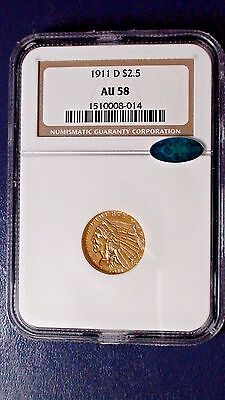 1911 D Gold $2.50 NGC CAC AU58 Indian Head Quarter 1/4 Eagle Coin $2.5 Strong D