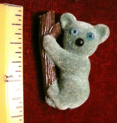 Vintage Breba Germany Fuzzy Plastic Koala Bear Pin, Brooch, Cute!
