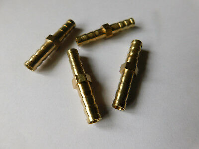 Pack of 4 6mm Straight Brass Barb Hose Connector / Joiner