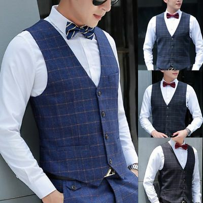 Business Mens Casual Dress Vest Formal Suit Coat Slim Fit Tuxedo Waistcoat Coat