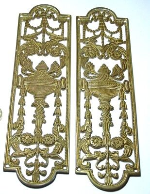 Pair Vintage Heavy Brass Fancy Door Finger Plate Antique Edwardian Torch/urn