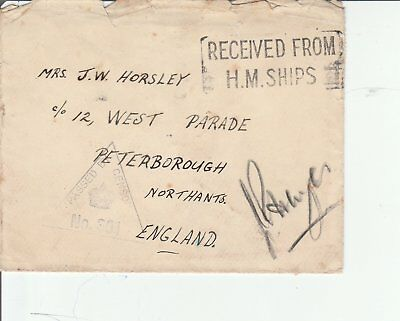 Nov15 Gb Undated Evenlope With Recieved From Hm Ships And Triangular Censor Mark