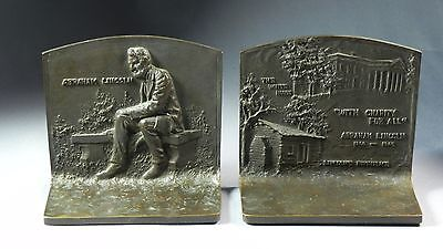 Pair Antique J. Griffoul Abraham Lincoln Bronze Bookends 1916 Bench White House