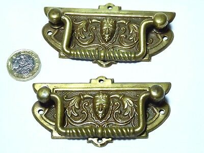Pair Antique Arts&crafts Gothic Brass Pull Handles Chest Of Drawers