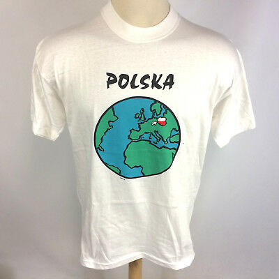 NOS Deadstock Vintage 90s Polish Poland Travel Earth Europe T Shirt L White