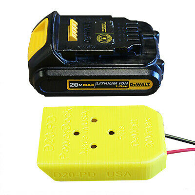 DCB-20x Power Dock for DeWalt 20V Battery, wired 14AWG for 20Vmax, PN#D20-PD-14