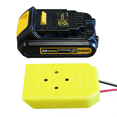 DCB-20x Power Dock for DeWalt Battery, wired 14AWG, fits 20Vmax, PN# D20-PD-14