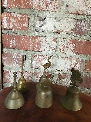 Vintage Brass Bell Collection Santa, Bird Fish & More!! 5 Bells Total