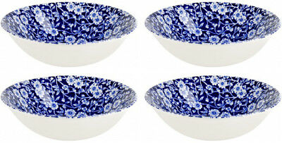 "BURLEIGH CALICO BLUE 4 x CEREAL BOWLS (6.5"" / 16cm) NEW/UNUSED"