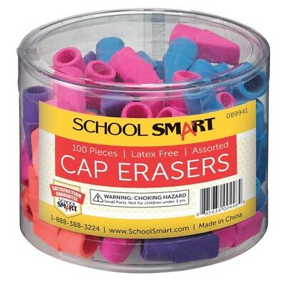 School Smart Chisel Shaped Latex-Free Pencil Cap Eraser Assorted Colors Pack 100