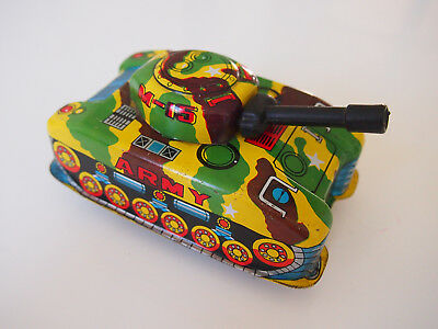 M-15 Tin Toy Tank Panzer Toy Hero Made in Japan Litho Blechspielzeug