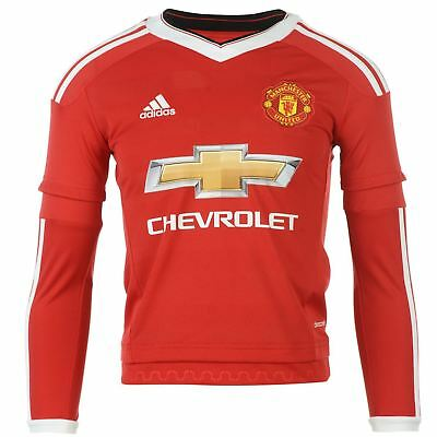 Adidas Manchester United Home Jersey 2015 2016 Long Sleeve Juniors Red Football