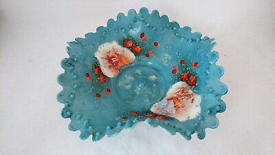 Large Antique Milk Glass Handpainted FR STAHL Victorian Courting Scene Blue Bowl