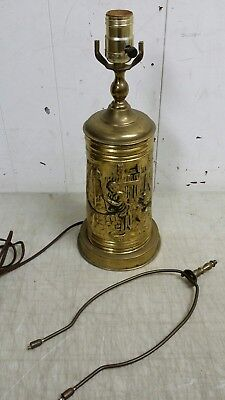 Vintage English Embossed Brass Table Lamp, Household Outdoor Scene w/Water Well