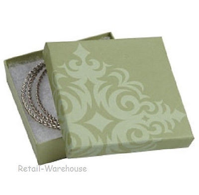 """Jewelry Boxes 50 Damask Sage Green Cotton Filled Gift Retail 3 ½"""" x 3 ½ x 1"""" #33"""