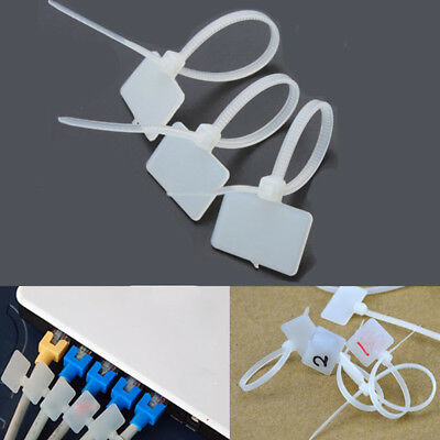 White Nylon Cable Cord Wire Zip Ties Label ID Sticker Marking Tags 150X4mm